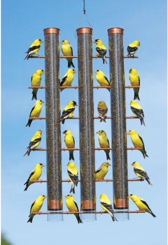 Songbird Essentials Copper Finish Finches Favorite 3 Tube Bird Feeder Se324c