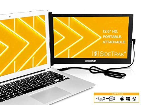"SideTrak Portable USB Monitor 12.5"" Screen - Attaches to Your Laptop for Easy Travel - Efficient USB Power - Compatible with MacBooks 13""-17"" 