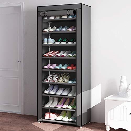 Samanoya - Zapatero de 10 niveles, organizador grande para almacenamiento de zapatos, con cubierta a prueba de polvo, ahorro de espacio, tela no tejida apilable