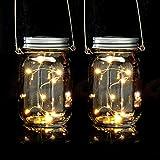 Relaxdays Solar Glas 2er Set, je 8 LED im Einmachglas, Stellen oder hängen, Solarleuchte für den...