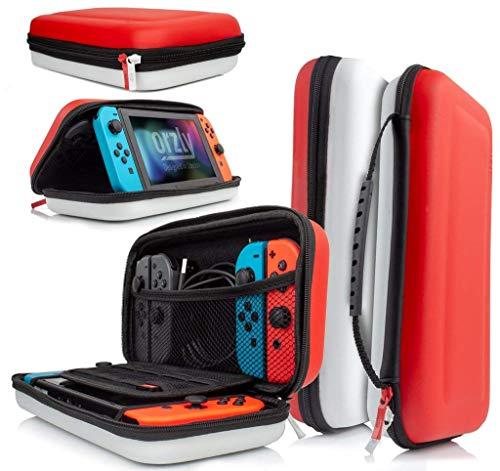 ORZLY Funda para Transportar la Nintendo Switch, (Roja/Blanca) Funda Dura de Viaje para Llevar la Nintendo Switch y Sus Accesorios