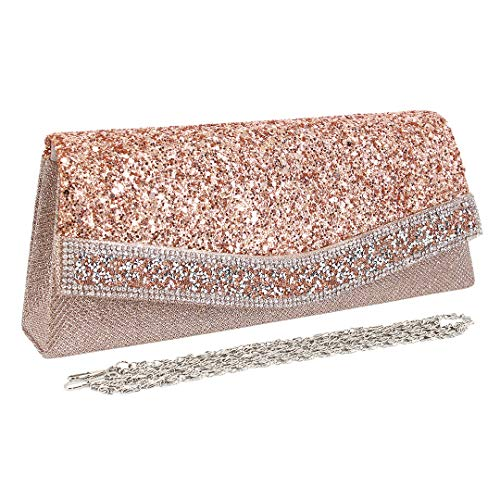Naimo Flap Dazzling Clutch Bag Evening Bag With Detachable Chain (Champagne)