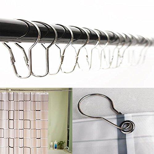 Bazaar Douchegordijn, 12 stuks, ringen, haken, chroom, badkamer fitting