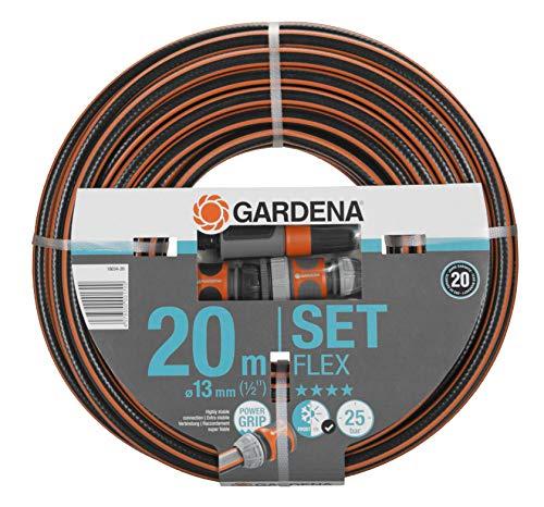 Gardena Comfort FLEX Schlauch 13 mm (1/2 Zoll), 20 m mit Systemteilen: Formstabiler, flexibler Gartenschlauch mit Power-Grip-Profil, aus hochwertigem Spiralgewebe, 25 bar Berstdruck (18034-20)