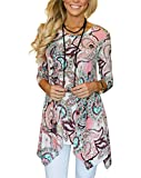 MIROL Womens Casual Fall Floral Print 3/4 Sleeve Tunic Loose Long Blouse Tops,Pink,X-Large