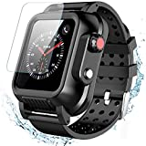 Temdan Waterproof Case for Apple Watch Series 3 38mm with Band, Built-in Screen Protector Full Body Protective Rugged Apple Watch Waterproof Case with Soft Silicone Bands for Apple Watch 38mm-(Black)