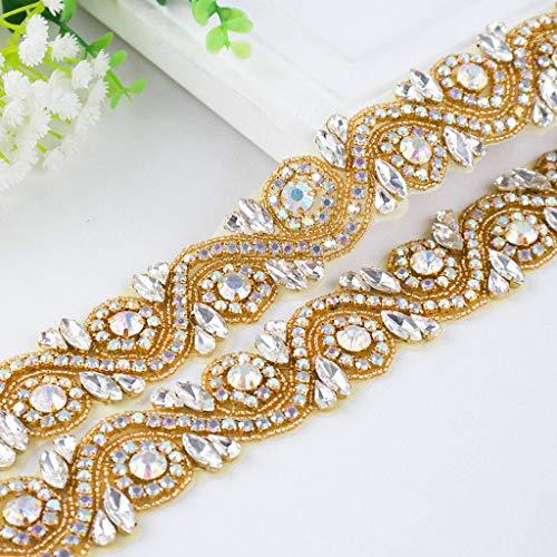 Wedding Rhinestones Pearls Applique, Rhinetones Trim for Dress, Sash, Bridal Applique, Crystal Beaded Applique, Wedding Rhinestone Applique RA245 (1 Yard, RA245-AB Gold)