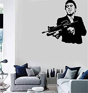 wheua Wall Sticker Quote Wall Decal Funny Wallpaper Removable Vinyl Scarface Film Gangster Man Weapons