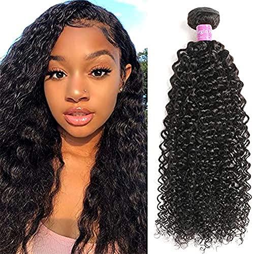 Abbily Hair Kinky Curly Human Hair Bundles Brazilian Virgin Curly Hair 1 Bundle (16Inch,100g) Unprocessed Virgin Brazilian Kinky Curly Hair Weave Natural Color