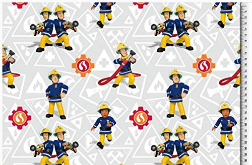 Jersey Disney Feuerwehrmann Sam grau blau gelb rot Digitaldruck 1,5m Breite
