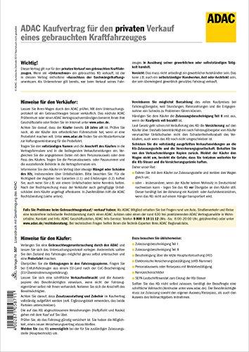ADAC-Kaufvertrag für priv. Verkauf gebrauchtes Kfz - SD, 1 x 2 Blatt, A4, Hinweise + Veräußerungsanzeigen