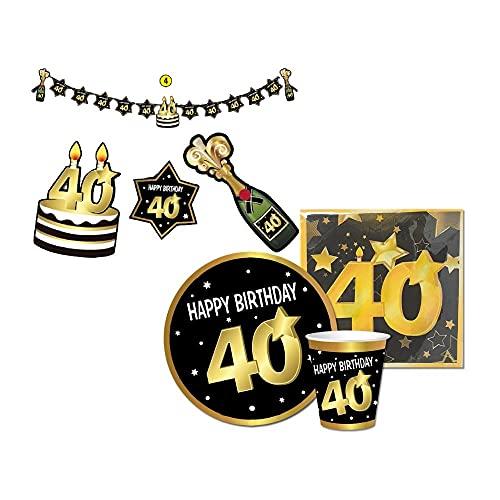 Kit desechable 40 cumpleaños + guirnalda 40 años 2,1 m – Juego de vajilla de 40 cumpleaños – 6 platos, 6 vasos y 20 servilletas – 40 años