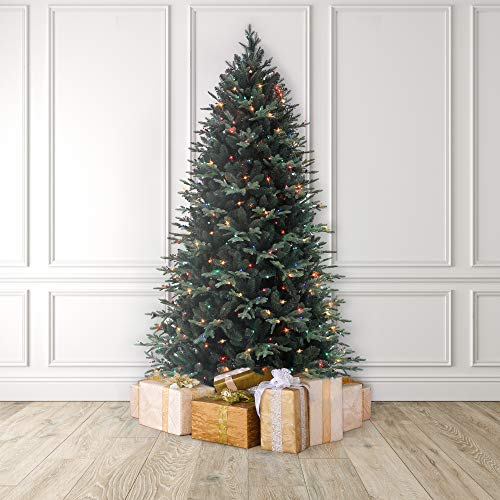 MARTHA STEWART Blue Spruce Pre-Lit Artificial Christmas Tree, 7.5 Feet, Multicolored Lights