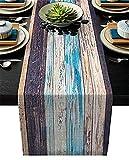 Runner da tavolo in stile fattoria, grana di legno colorata blu marrone tavola lunga tela antiscivolo runner decorazione da tavolo per cucina, feste, banchetti, 18x72 pollici