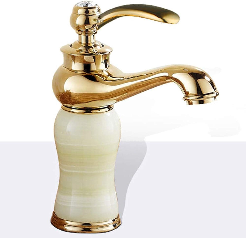 Floungey Kitchen Sink Tapsbathroom Sink Tapsgolden Washbasin Jade Stone Hot And Cold Faucet, A1