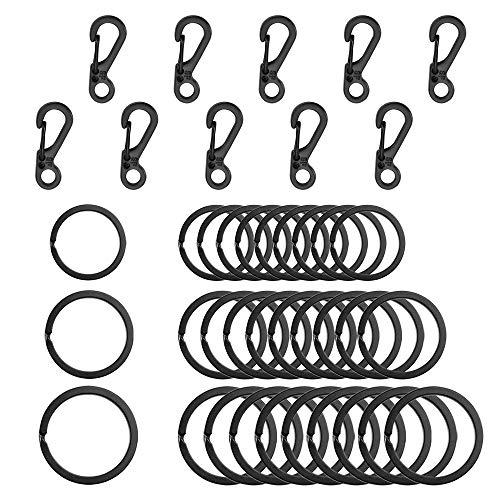 SENHAI 30stk Metallflache Schlüsselanhänger, 3 Größen, 10stk Mini-SF-Karabiner mit Schnappverschlüssen zum Klettern Camping Überleben Rucksack Flaschenhaken - schwarz