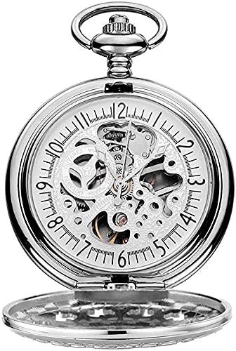 DSADDSD Orologio da tasca Relojes de Bolsillo, Reloj de Bolsillo Redondo Negro Antiguo Dial Grabado Hueco Esqueleto mecánico, Reloj de Bolsillo para Hombre con Cadena