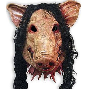 HAOSUN Halloween Scary Mask Horrible Mask Pig Face Mask Masquerade Costume Latex Mask Pink