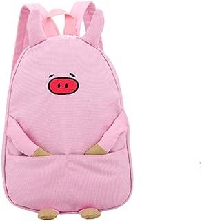 Transer Women Girl Boy Piggy Print Canvas Zipper School Backpack Bags Bookbags (Pink)
