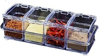 SPNEC 4pcs / lot Nouvelle Cuisine Organisateur Boîtes de Rangement épices Assaisonnement Pot Transparent Sucre sel Bouteil...