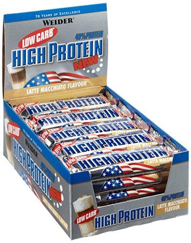 Weider Low Carb High Protein Eiweißriegel, Latte-Macciato, 24 Stück pro Box, Fitness & Bodybuilding