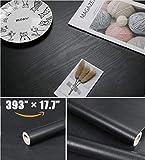 """393""""×17.7"""" Black Wood Wallpaper Black Wallpaper Peel and Stick Wallpaper Self Adhesive Wallpaper Removable Wallpaper Stick and Peel Wallpaper Black Wood Grain Wallpaper Vinyl Wallpaper Film"""