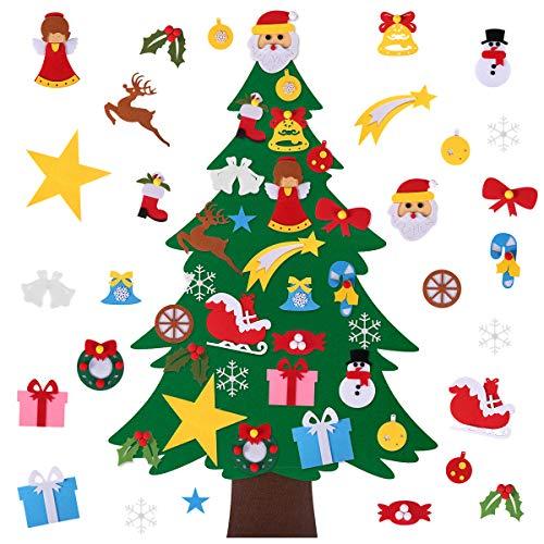 Felt Christmas Tree, 3.3 FT DIY Felt Christmas Tree Set Wall Hanging Detachable Ornaments for Kids, Xmas Gifts, New Year Door Wall Hanging Decorations