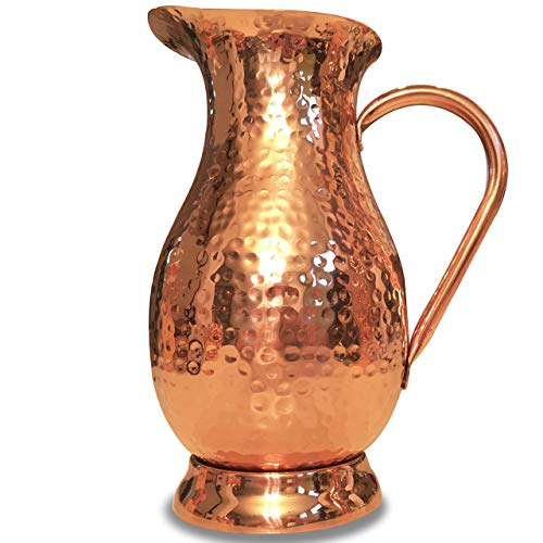 Pure Copper Pitcher - Extra Large 70 oz - Hammered Copper Water Jug for Ayurveda Health - No Inner Liner