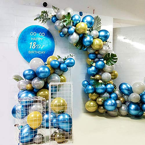 Globos de Cumpleaños para niños hombres, Globos Metalizados, Globos azules y oro, Globos de látex con hojas de tortuga, Globos de Guirnaldas para Cumpleaños Fiesta Decoraciones Baby Shower