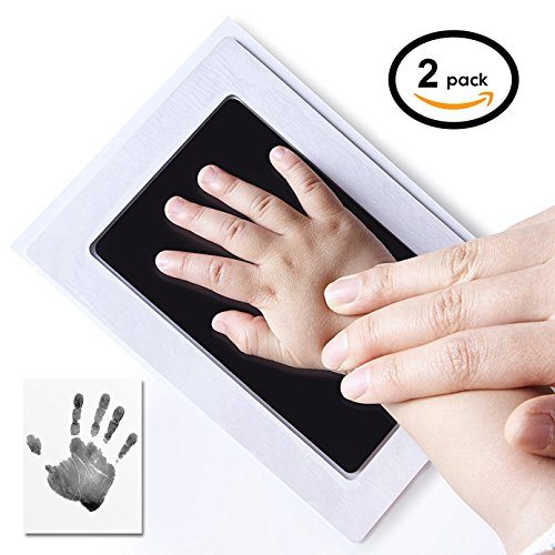 2-Pack UnicornTech Handprint Footprint Ink Pads Photo Frame | Safe Non-Toxic Ink & No Direct Contact Between Baby's Skin and the Ink | Perfect Gift for Newborn Baby Shower Registry