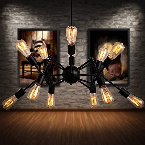 JSXing Lámparas colgantes, lámparas de araña doradas, estilo industrial vintage de Edison, iluminación de techo de lujo, lámpara...