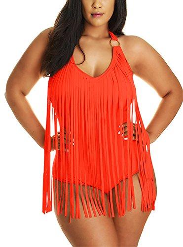 Pandolah Women Plus Size Tassel Fringe Padded Bikini Bandeau One Piece Swimsuits (2XL, Orange-5)
