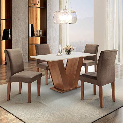 Conjunto Sala de Jantar Mesa Tampo MDF 4 Cadeiras Espanha Siena Móveis Chocolate