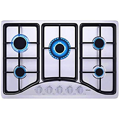 IsEasy Gas Cooktop 30 inch Stainless Steel 5 Burners Gas Stove with NG/LPG Conversion Kit