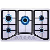 """IsEasy Gas Cooktop 30"""" Stainless Steel 5 Burners Gas Stove with NG/LPG Conversion Kit"""