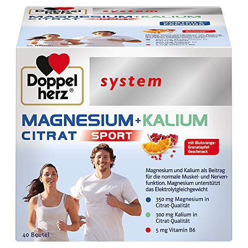 Doppelherz system MAGNESIUM + KALIUM CITRAT – Magnesium + Kalium als Beitrag für die normale Funktion der Muskeln und des Nervensystems – 40 Portionsbeutel