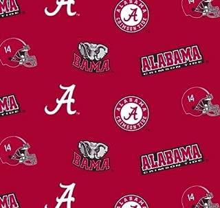 Collegiate Cotton Broadcloth University of Alabama Allover Red Fabric
