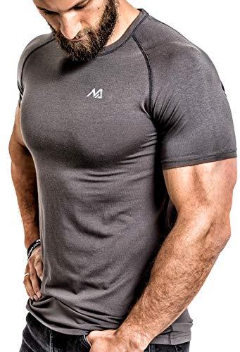 Herren Fitness T-Shirt modal - Männer Kurzarm Shirt für Gym & Training - Passform Slim-Fit, lang mit Rundhals, Grau, S