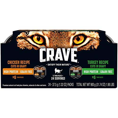 CRAVE Grain Free Adult High Protein Soft Wet Cat Food Chicken & Turkey Recipes Cuts in Gravy Variety Pack, (12) 2.6 oz. Twin-Pack Trays