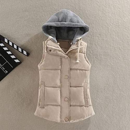BAONUANY Down Vest Voor Vrouwen, Beige Winter Warm Taillejas Vrouwen Plus Size Mouwloos Vest Jas Vrouwelijke Down Vest Jas Mode Dames Straat Draag Hooded Vesten