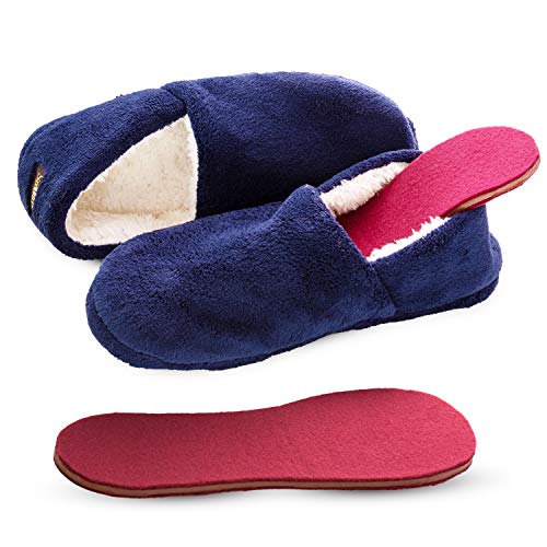 Snook-Ease Microwavable Heated Slippers Feet Warmers Booties with Heated Insole Inserts for Instantly Warm Feet - Reusable Reheatable Washable - Promotes Good Night's Sleep – Low Cut Blue Size 11-12