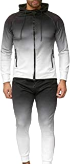 Men 2-Piece Gradient Hood Slim-Fit Zip Up Sweatsuit Jogging Set