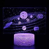 3D Luz de noche Ilusión óptica Lámpara LED Luz de noche Sistema solar planeta galaxia lámpara 16 Colores Lámpara luz de noche niños mejor regalo hogar decoración para niños 3d lámpara led