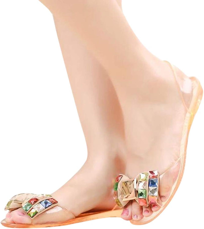 Pingyangxianyanludianzisha Women's Fish Mouth Flat Sandals Bow Crystal shoes Waterproof Non-Slip Ladies Sandals