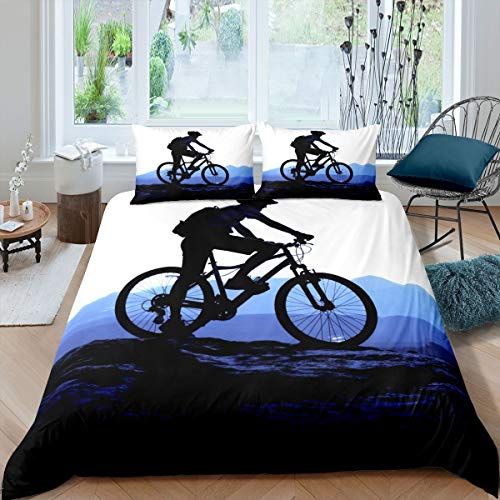 Mountain Bike Duvet Cover Motocross Racer Extreme Sport Bedding Set for Kids Boys Girls 3D Dirt Bike Decor Comforter Cover Bicycle Rider Bedspread with 1 Pillowcase 2Pcs Bedding Single