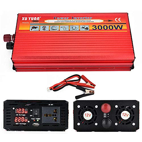 ZCME-power 3000W Reiner Sinus Spannungswandler - Auto Wechselrichter 12/24v auf 110V 220v Umwandler - Inverter Konverter mit Steckdose und USB-Port,12VTO220V