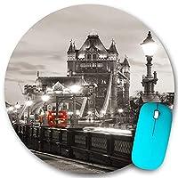 KAPANOU ラウンドマウスパッド カスタムマウスパッド、有名な都市都市生活風景ヨーロッパのロンドンテーマタワーブリッジ、PC ノートパソコン オフィス用 円形 デスクマット 、ズされたゲーミングマウスパッド 滑り止め 耐久性が 200mmx200mm