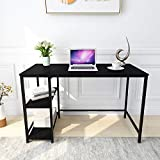 Writing Computer Desk Simple Study Desk Notebook Table for Home Office Metal Frame Easy Assembly with 2 Storage Shelves Black Panel & Black Legs
