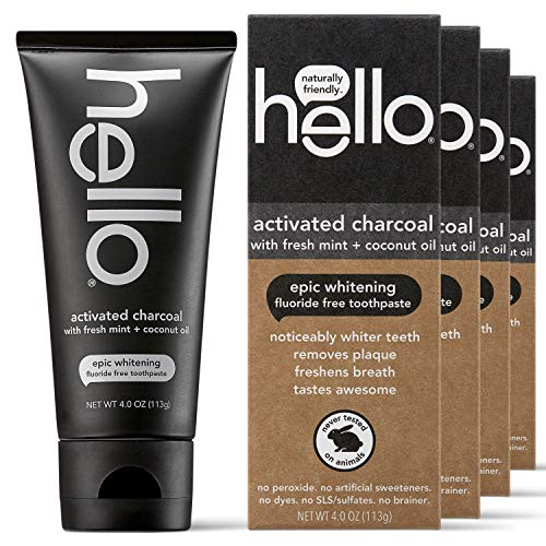 hello Activated Charcoal Epic Teeth Whitening Fluoride Free Toothpaste, Fresh Mint and Coconut Oil, Vegan, SLS Free, Gluten Free and Peroxide Free, 4 Oz, Pack of 4