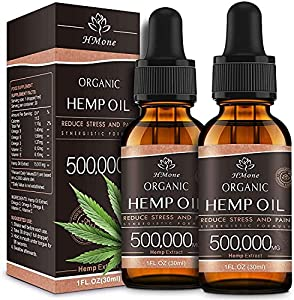 (2 Pack) Organic Hemp Oil Extract - 500,000MG Extra Strength - Organically Grown in USA - Natural Dietary Supplement - Non-GMO, Vegan